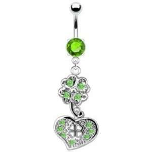 Dangling Heart and Shamrock Belly Button Navel Ring Dangle