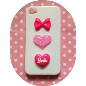 Pink Barbie Love Heart Kawaii Glitter Hearts Iphone 4 /4s