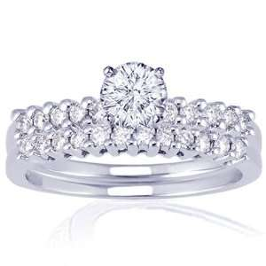 Ct Round Cut Petite Diamond Engagement Wedding Rings Set 14K GOLD SI2
