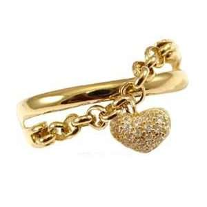 Gold, Dangling Heart and Rolo Chain Ring with Brilliant Created Gems
