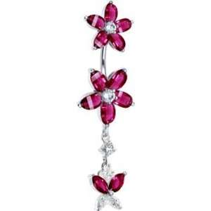 925 Siam Red Cubic Zirconia Dual Lily Butterfly Belly Ring Jewelry