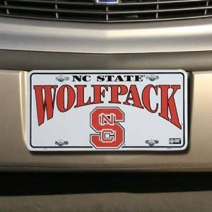 NCAA North Carolina State Wolfpack White Metal License Plate