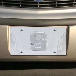 NCAA North Carolina State Wolfpack Satin Mirrored Flame License Plate