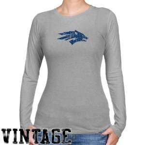 Nevada Wolf Pack Ladies Ash Distressed Logo Vintage Long
