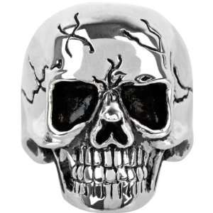 Inox Jewelry 316L Stainless Steel Black Cracked Skull Ring Jewelry