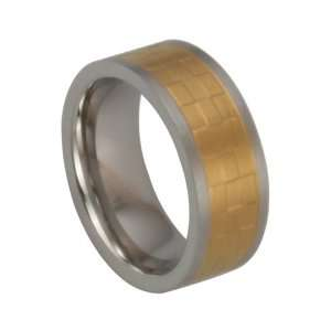 316L Stainless Steel Ring with IP Gold Plating Polish   8mm Width