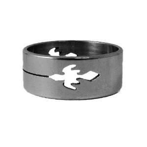 1x 8mm Flat Stainless Steel Ring Band, Hollow Engraved Jet