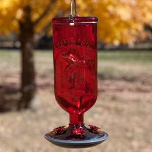 Red Antique Bottle Hummingbird Feeder Patio, Lawn