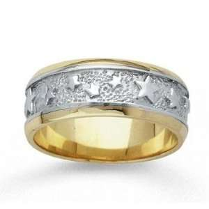 14k Two Tone Gold Grand Stars Hand Carved Wedding Band Jewelry