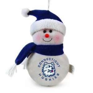 Pack of 3 NCAA Connecticut Huskies Plush Snowman Christmas