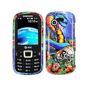 Snake Skull Blue Flower Crystal 2D Hard Skin Case Faceplate Cover for