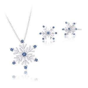 14K White Gold Blue Diamond Snow Flake Earrings and Pendant with