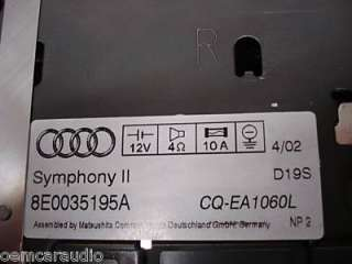 NEW 02 03 04 AUDI A4 S4 6 Disc CD Changer Player Radio Symphony BOSE