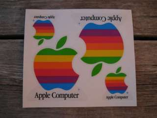 Vintage Apple Computer Rainbow 4 StickerSet Mint