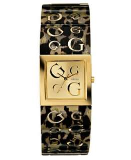 GUESS Watch, Womens Plastic Leopard Print Strap U10504L1   Jewelry