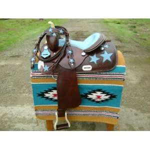 14 Big W Western Barrel Racing Saddle Turquoise Ostrich Set