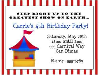 10 CIRCUS CLOWN CARNIVAL Birthday PARTY Invitations