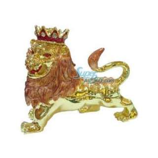 Jewelry Trinket Box Swarovski Crystal Diamond LION JF1899