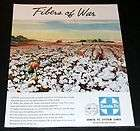 1945 OLD WWII MAGAZINE PRINT AD, SANTA FE SYSTEM, COTTON PICKING ART