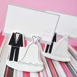 24 Bride Groom Place Card Holder & Favor Boxes w/card