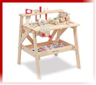 Childrens Wood Project Work bench WorkShop Tool Table