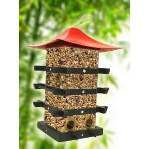 Perky Pet WB Pagoda Bird Feeder, Black Wooden Supports with a Stylish